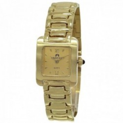Reloj oro 18k Cromwell mujer brillo eslabones combinados esfera champang rectangular