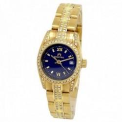 Reloj oro 18k Cromwell mujer mate bisel correa diamantes brillantes esfera azul marino