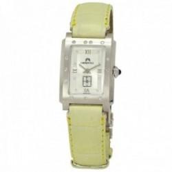 Reloj oro blanco 18k Cromwell mujer mate brillo bisel indicadores diamantes brillantes correa piel