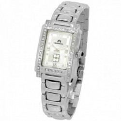 Reloj oro blanco 18k Cromwell mujer bisel indicadores diamantes brillantes esfera blanca segundero
