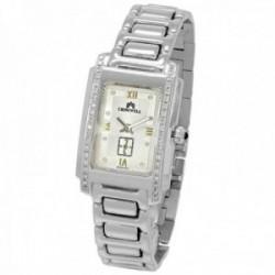 Reloj oro blanco 18k Cromwell mujer brillo mate esfera blanca bisel indicadores diamantes brillantes