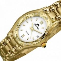 Reloj oro 18k Cromwell mujer brillo mate bisel diamantes brillantes esfera blanca calendario