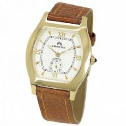 Reloj oro 18k Cromwell hombre brillo esfera blanca calendario correa piel marrón