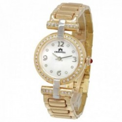 Reloj oro 18k Cromwell mujer brillo mate esfera nácar bisel indicadores diamantes brillantes