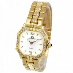 Reloj oro 18k Cromwell mujer mate brillo bisel diamantes brillantes esfera blanca octogonal