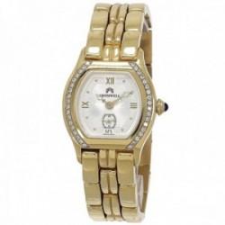 Reloj oro 18k Cromwell mujer brillo esfera blanca segundero bisel diamantes brillantes