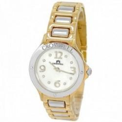 Reloj oro bicolor 18k Cromwell mujer brillo esfera nácar indicadores diamantes brillantes