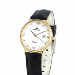 Reloj oro 18k Cromwell mujer esfera blanca calendario correa piel