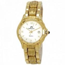 Reloj oro 18k Cromwell mujer brillo mate esfera blanca calendario correa eslabones