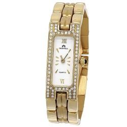 Reloj oro 18k Cromwell mujer brillo bisel diamantes brillantes esfera blanca rectangular