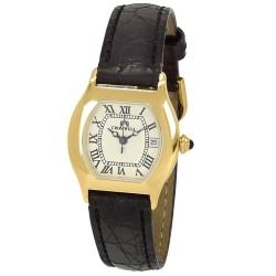 Reloj oro 18k Cromwell mujer brillo esfera blanca calendario correa piel