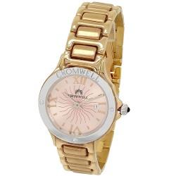 Reloj oro bicolor 18k Cromwell mujer brillo esfera nacarada rosa calendario bisel logo