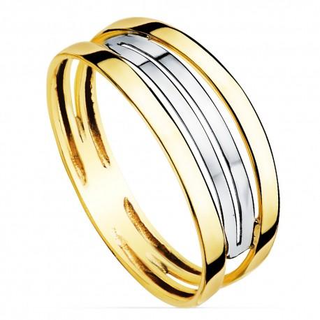 Sortija oro 9k bicolor bandas [7584]