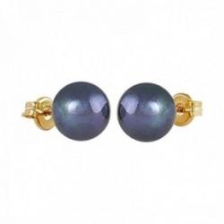 Pendientes oro 18k perlas cultivadas 10mm. grises colección Elizabeth cierre presión