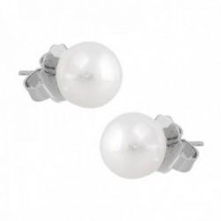 Pendientes oro blanco 18k perlas australianas 9.5mm. colección Elizabeth cierre presión