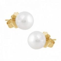 Pendientes oro 18k perlas australianas 9mm. colección Elizabeth cierre presión
