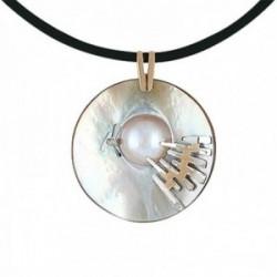 Gargantilla oro bicolor 18k cordón cuero colgante diamante brillante 0.01ct. madreperla detalles