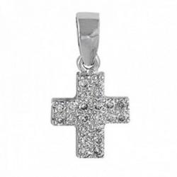 Colgante oro blanco 18k cruz 8mm. colección Olimpia diamantes 0.12ct. brillantes