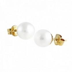 Pendientes oro 18k perla cultivada 8.5mm. colección Elizabeth cierre presión
