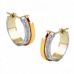 Pendientes oro bicolor 18k aros 14mm. colección Milán banda diamantes brillantes 0.08ct. banda lisa
