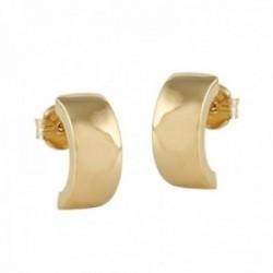 Pendientes oro 18k colección Piave 13.3mm. lisos curva cierre presión