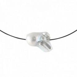 Gargantilla acero inoxidable colección Martina colgante perla 23mm. barroca