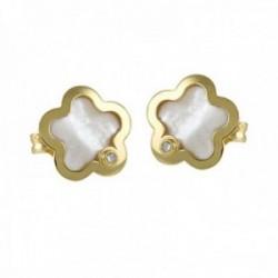 Pendientes oro 18k colección Tulipán 8mm. diamante brillante 0.02ct. madreperla flor cierre presión
