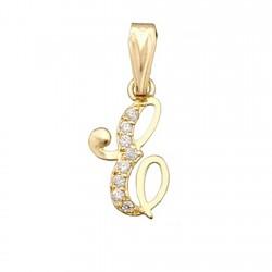Colgante letra oro 18k inicial ''E'' alto 11mm. circonitas [6206]