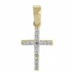 Colgante oro 18k cruz 10mm. diamantes brillantes 0.09ct. colección Olimpia