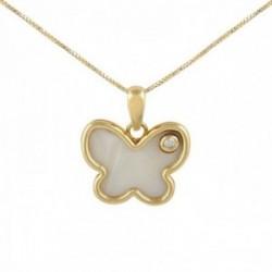 Gargantilla oro 18k colección Tulipán 45cm diamante brillante 0.03ct mariposa nácar cadena veneciana