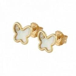 Pendientes oro 18k colección Tulipán 9.5mm diamante brillante 0.03ct mariposa nácar cierre presión