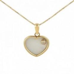 Gargantilla oro 18k colección Tulipán 45cm diamante brillante 0.03ct. corazón nácar cadena veneciana