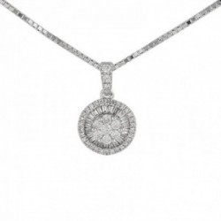 Gargantilla oro 18k colección Destellos 45cm. diamantes brillantes baguette 0.24ct. cadena veneciana