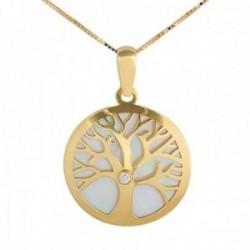 Gargantilla oro 18k colección Tulipán 45cm. diamante brillante 0.016 árbol de la vida nácar