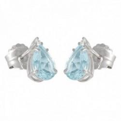 Pendientes oro blanco 18k colección Azul lágrima 10mm. diamantes brillantes 0.04ct. aguamarina