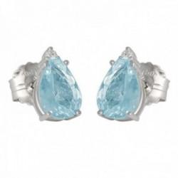 Pendientes oro blanco 18k colección Azul 10mm. diamantes brillantes 0.04ct. aguamarina lágrima