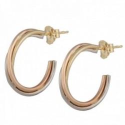 Pendientes oro tricolor 18k colección Sena aros abiertos 15mm. triple banda cruzadas lisos