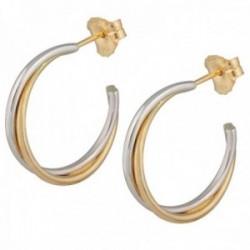Pendientes oro bicolor 18k colección Sena aros abiertos 15mm. doble banda cruzadas lisos