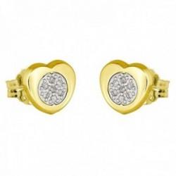 Pendientes oro bicolor 18k coleccción Moonlight 7mm. diamantes brillantes 0.07ct. corazón presión