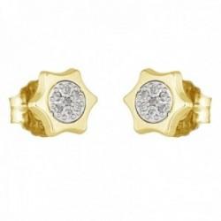 Pendientes oro bicolor 18k coleccción Moonlight 7mm. diamantes brillantes 0.07ct. sol cierre presión