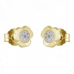 Pendientes oro bicolor 18k coleccción Moonlight 7mm diamantes brillantes 0.07ct trébol presión