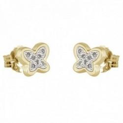 Pendientes oro bicolor 18k colección Moonlight 6.8mm. diamantes brillantes 0.06ct. mariposa presión