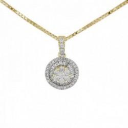 Gargantilla oro 18k colección Destellos diamantes brillantes baguette 0.24ct. cadena veneciana