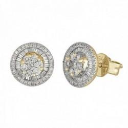 Pendientes oro 18k colección Destellos 8.5mm. diamantes brillantes baguette 0.44ct. cierre presión