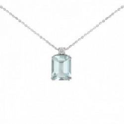 Gargantilla oro blanco 18k colección azul diamante brillante 0.05ct. colgante aguamarina