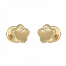 Pendientes oro 18k colección Tulipán 5.2mm. diamantes brillantes 0.01ct. flor cierre tuerca
