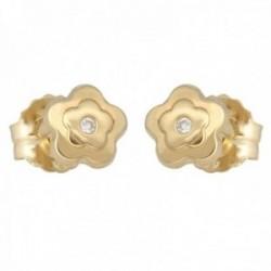 Pendientes oro 18k colección Tulipán 5.5mm. diamantes brillantes 0.02ct. flor cierre presión