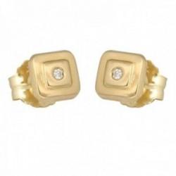 Pendientes oro 18k colección Tulipán 5.5mm. diamantes brillantes 0.02ct. cuadrado cierre presión