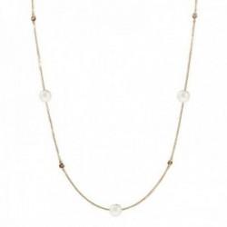 Gargantilla oro 18k colección Alexandra 70cm. diamantes brillantes 0.16ct. perlas cultivadas