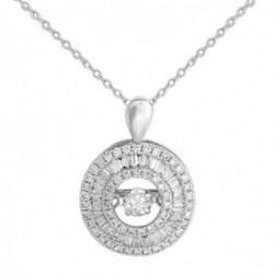 Gargantilla oro blanco 18k colección Venecia diamantes brillantes baguette 0.4ct. cadena forzada